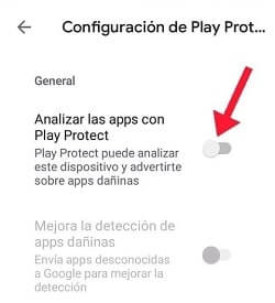 analizar las apps con Play Protect
