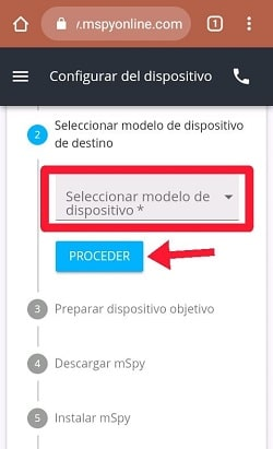 select the device model