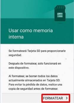 formatear memoria interna sd